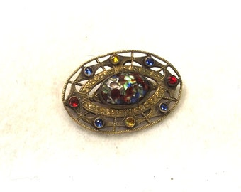 ON Sale, Etruscan Style Brooch - Antique Pin - Stone Jewelry - Etruscan Jewelry - Antique Jewelry - C Clasp Brooch - Stone Brooch - Jewelry