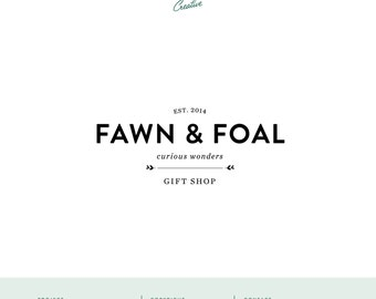 "Pre Made Logo Design - Small Business Logo - ""Fawn and Foal"""