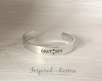 Semicolon Cuff Bracelet,Continue,Just Breath,Semicolon Jewelry,Suicide Prevention,Mental Health Awareness Jewelry,Self Harm,Depression,