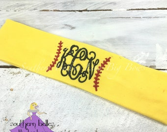 Monogrammed Softball Headband - Stretch Knit, Gift for Softball Player, Softball Gift, Personalized Headband for Softball Team, Team Gift