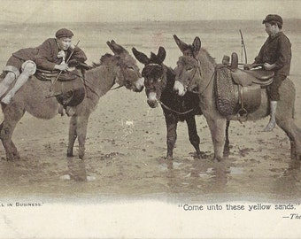 A Slow Day - Antique 1900s Seaside Donkeys and Boys Photographic View Postcard