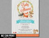 Woodland Baby Shower Invitation fox deer boy girl gender neutral