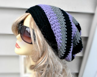 Slouchy Hat in Multi Color, Crochet Black, Purple, Grey Slouchy Beanie, Winter Accessories, Womens Accessories