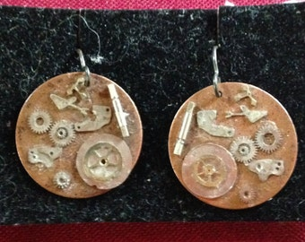 Steampunk Round Copper Earrings