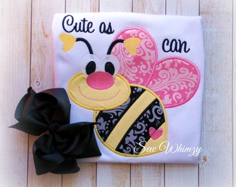 Bee Applique shirt- Girls appliqued shirt- Cute as can bee- Birthday Girl Shirt- Bumble Bee Shirt- Monogram- Toddler- Kids- Girl- Custom