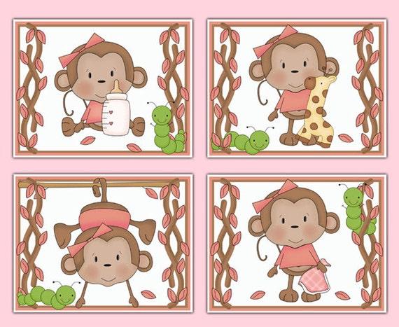 Girl Monkey Nursery Wall Decor : Monkey nursery prints wall art girl pink safari jungle animals