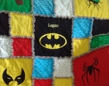 Toddler Superhero Rag Flannel Blanket Superhero Quilt / Comic Book Quilt / Superhero Rag Quilt / Comic Book Rag Quilt / Baby Rag Quilt