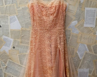 1950s Blush Lace and Tulle dress