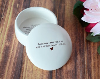 Groom Gift To Bride - Keepsake Box - Each Day I Fall For you, and You Keep Falling For Me - Gift Boxed