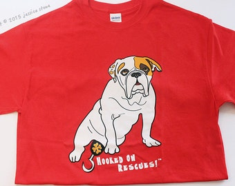 2XL Tee, Piper and Ogden's HOOKED ON RESCUES Shirt, Red Unisex T-shirt, For a good cause, Special Needs Bulldog, Dog Rescue