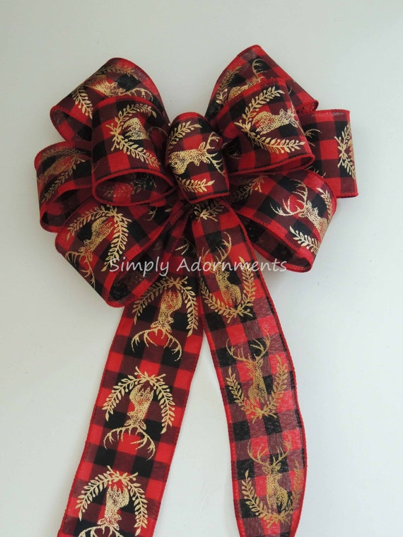 Holiday Red Black Buffalo Check Bow Rustic deer Head Country Plaid Wreath Bow Red Black Tartan Bow Country Holidays Deer Bow door Hanger bow