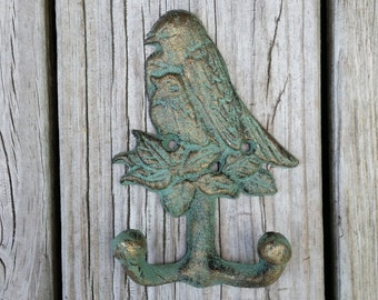 Cast Iron Bird Hook - Cast Iron Wall Hook - Jewelry Storage - Housewarming Gift - Mother and Baby Bird - Mothers Day Gift for Her - Nursery