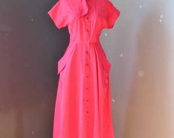 Fuchsia Pink House Dress / Vtg 50s / Betty Barclay Hot Pink house dress w big pockets / Shirt dress / Shirtwaist dress