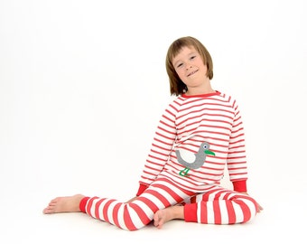 girls pajama, girls 2pc pajama set, toddler girl pajama, girls pyjama, girls sleepwear, striped jersey pajama, organic cotton pajama,seagull