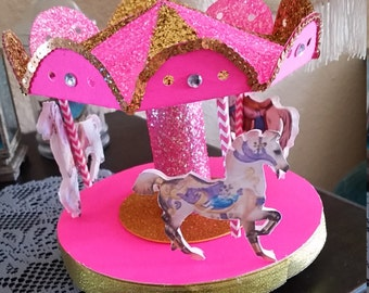 Pink and Gold or Other Colors Carousel Cake topper or Party Centerpiece
