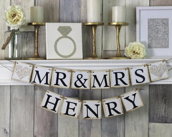 Mr and Mrs Sign, Mr and Mrs Banner, Mr and Mrs, Wedding Sign, Wedding Decor, Wedding Sign, Rustic Wedding Sign, Sweetheart Table, Gift