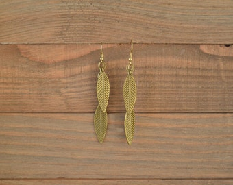 Gold Leaf Earrings - Antique Gold Leaf Dangle Earrings - Long Gold Dangle Earrings - Metal Earrings - Fringe Earrings - Feather Earrings