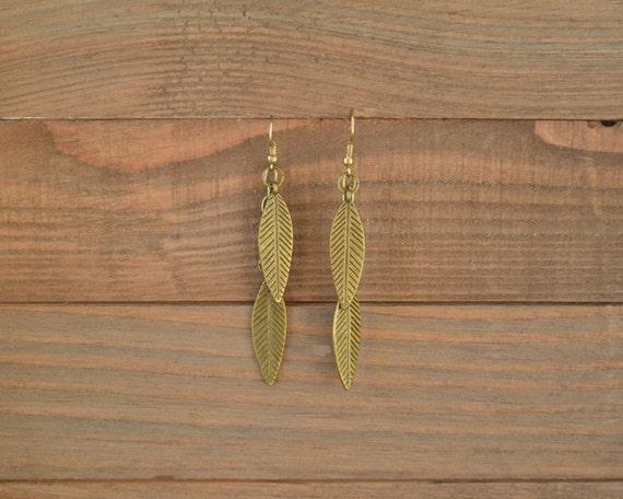 Gold Leaf Earrings - Antique Gold Leaf Dangle Earrings - Long Gold Dangle Earrings - Metal Earrings - Fringe Earrings - Feather Earrings