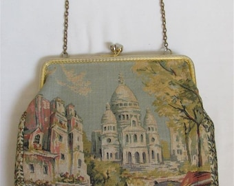 "On Sale! 1950's Woodward & Lothrop Tapestry ""Sacre Couer"" Purse / Handbag Made in France"