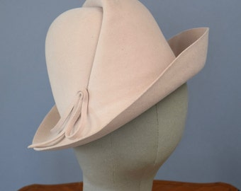 Vintage 70s Hat Cream Felt Fedora
