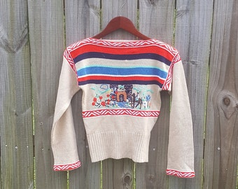 XXS XS Extra Small Vintage 60s Castle Prince Princess Horse Novelty Print Embroidered Bad Girl Southwest Sweater Top Blouse
