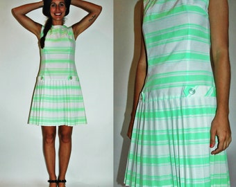 1960s Neon Lime Gree Striped MOD Scooter Dress