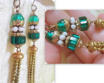 Repurposed Assemblage Earrings Jewelry, Brass Tassel Earrings, Vintage Emerald Green Rhinestone Earrings Jewelry OOAK, Upcycled Recycled