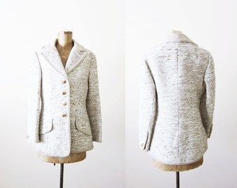 1960s Lilli Ann Jacket / 60s Cream white coat /  Vintage Lilli Ann Tweed Boucle Blazer Medium