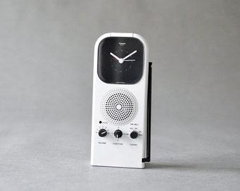 Vintage alarm clock radio desk clock West German Rowenta black 80s black white