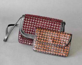 Vintage woven bag hand bag purse leather satchel oxblood burgundy mulberry cognac caramel