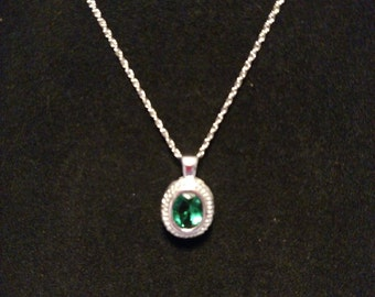 Sterling Silver Green Glass and CZ Pendant Necklace