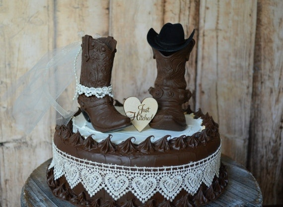 cowboy themed wedding cake toppers cowboy boot wedding cake topper just hitched sign country barn 13026