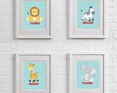 JUNGLE SAFARI Art Prints for kids, Wash Brush Flush Floss Splash, Childrens Wall Art, Yellow theme, Multiple SIZE options available