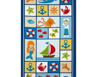 """Seaside Holidays, Quilting Panel by Benartex, with Whales, Crab, Octopus, Sailboat, Fish, Seashells, Mermaids, Anchors & More (24"""" x 44"""")"""