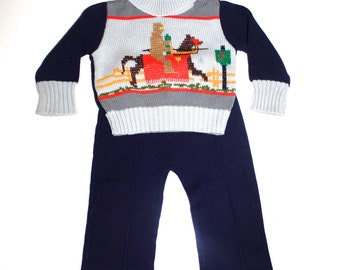1970s Little Boy - KNIGHT JOUSTING Knit Sweater - Matching Bell Bottoms - Size 2T