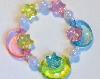 Luna - Pastel Moon and Glitter Star Stretch Bracelet with Iridescent Pearl Beads