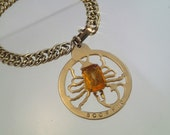 FREE Shipping Vintage Zodiac Medallion Bracelet Scorpio Gold Tone Coin Pendant Charm with Orange Czech Glass Carved Cab