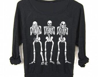 Womens SKELETON Shirt see no evil Halloween Bohemian Boho Screen Print Top Long Sleeve American Apparel Raglan Pullover S M L  sweatshirt