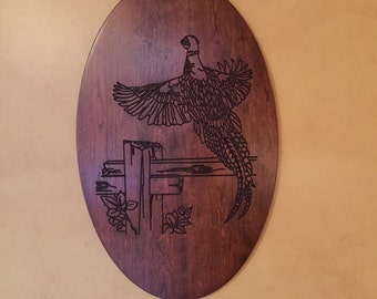 Engraved Pheasant Art, Solid Cherry Wood