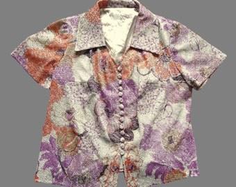 Women's Vintage 70's Metallic Shirt / Top UK 16