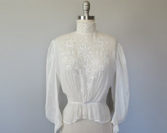 victorian high neck embroidered blouse size xs / victorian white blouse / edwardian blouse