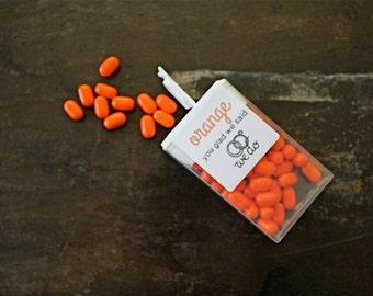 Wedding favor labels, personalized stickers.  Tic Tac labels, sheet of 12.  Orange you Glad design.  Orange favor labels, double sided.