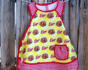 Eggo Kitchen Apron - Child Size 12 - Yellow and Red - Petite Adult
