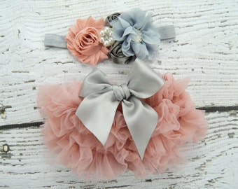 Dusty Rose Ruffle Bloomers and Headband Set / Antique Pink Ruffle Baby Bloomer / Ruffle Diaper Cover / Newborn Photo Prop / Vintage Pink