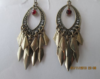 Bronze Tone Chandelier Earrings with Bronze Tone Leaf Charm Dangles