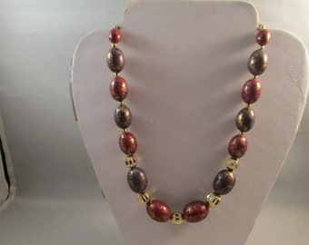 SALE Gold Tone and Mauve Marbled Bead Necklace