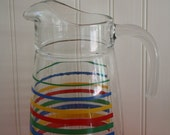 Vintage Colorful Striped Glass Pitcher, Retro Decor, Kitsch