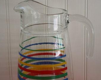 Vintage Colorful Striped Glass Pitcher, Retro Decor, Kitsch