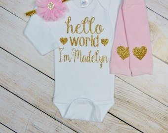 Personalized Newborn Girl Outfit Hello World Pink Gold Glitter Hearts Headband Leg Warmers Baby Girl Coming Home Outfit Gift Take Home Set