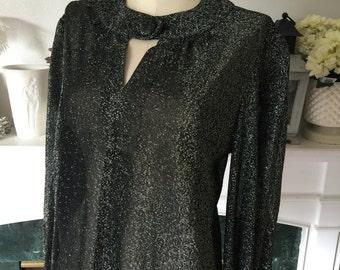 60s Black Silver Lurex Evening Party Blouse